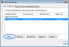 Certificate Manager dialog box